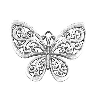 1 x Antique Silver Tibetan 56mm Butterfly Charm/Pendant HA08415