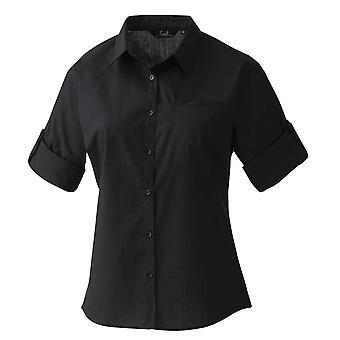 Premier Womens Roll Sleeve Poplin Shirt