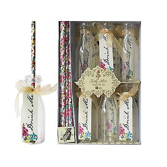 Alice in Wonderland 'Drink Me' Set - Bottles - Tags x 6, Straws x 12 - Party / Wedding