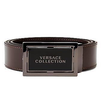 Versace collectie mannen edelstaal Buckle lederen riem Brown