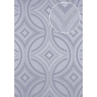 Graphic wallpaper ATLAS 5135-5 non-woven wallpaper embossed Kaleidoscope-style shimmering silver perl light grey grey - blue 7,035 m2
