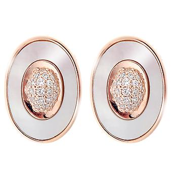 Orphelia Silver 925 Earring Oval Rosegold Plated With Center Zirconium  ZO-7292