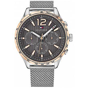 Tommy Hilfiger Mens Gavin argent maille d'acier Bracelet 1791466 chronographe