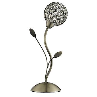 Bellis Ii - Table Lamp, Antique Brass, Clear Glass Deco Shade