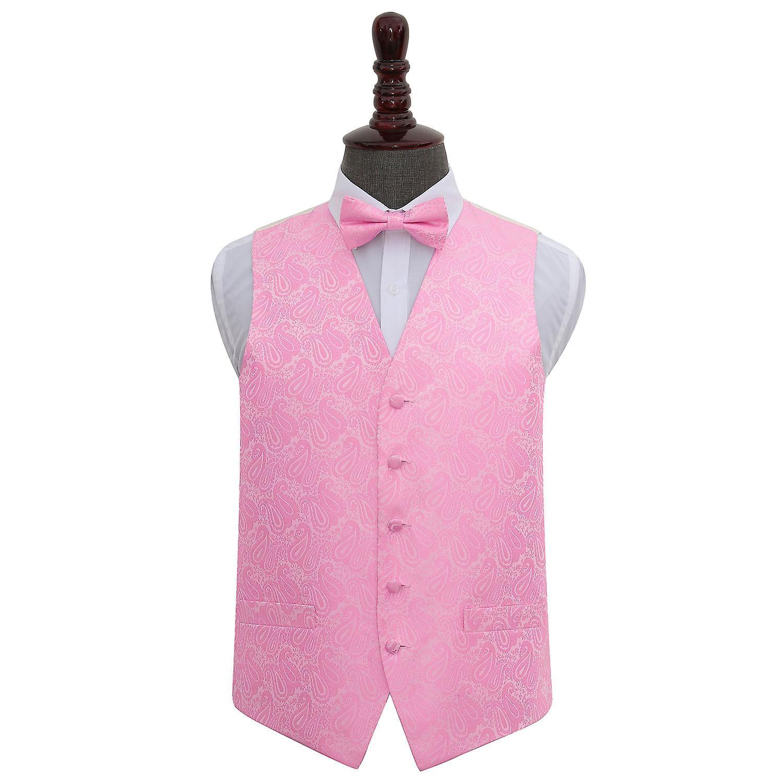 Baby Pink Paisley Wedding Waistcoat & Bow Tie Set