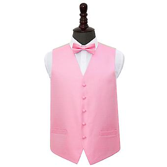Baby Pink Greek Key Wedding Waistcoat & Bow Tie Set