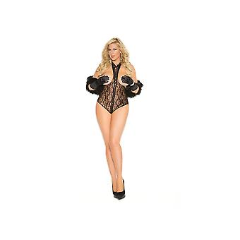Vivace EM-8743Q Lace cupless teddy with lace up front and open back