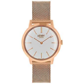 ヘンリー ロンドン象徴的なレディース ローズ ゴールド メッシュ ブレスレット ホワイト ダイヤル HL34-M-0230 時計