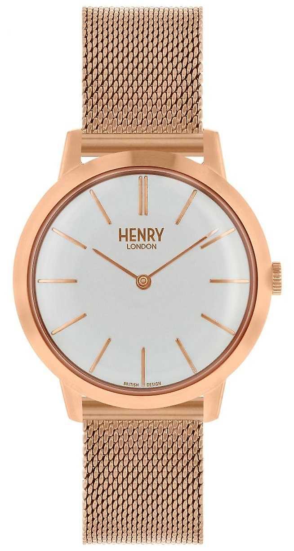 Henry Londres emblématique femmes Rose maille or Bracelet cadran blanc HL34-M-0230 montre