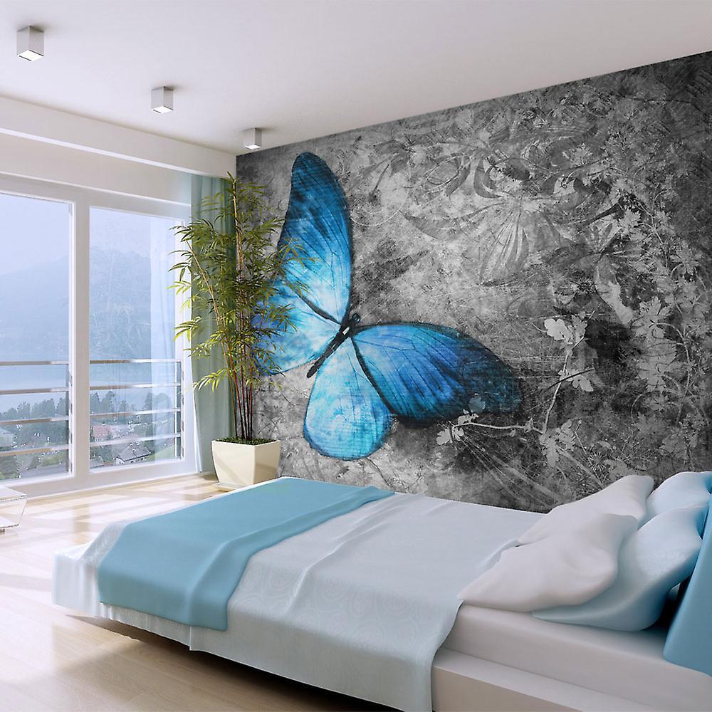 Papier peint - bleu papillon