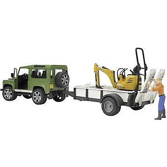 Brother Land Rover Defender Station Wagon with single-axle trailer, JCB micro excavators and construction workers