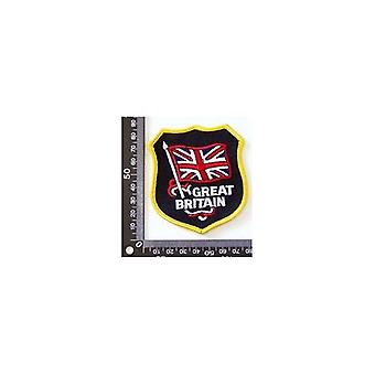 Union Jack Wear Great Britain Embroidered Patch. Shield 7.5 X 8.5 Cm