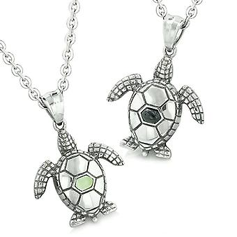 Amulets Love Couple or Best Friends Set Sea Turtles Lucky Charms Onyx Lime Green Cats Eye Necklaces