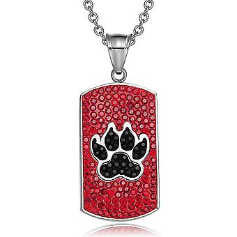 Wolf Paw Austrian Crystals Amulet Protection Powers Cherry Red Jet Black Dog Tag Pendant Necklace
