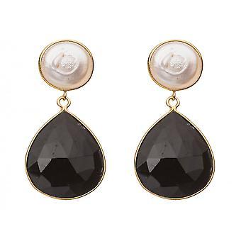Gemshine - dames - oorbellen - 925 zilveren vergulde - kralen - Onyx - wit - zwart - 4 cm