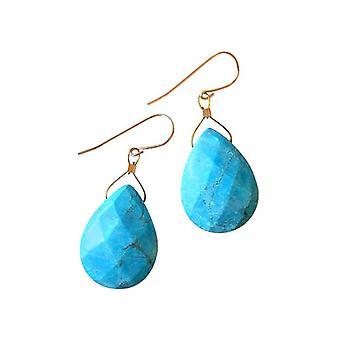 Gemshine - damer - øredobber - gullbelagt slipp - turkis - 2 cm - blå - fasettert