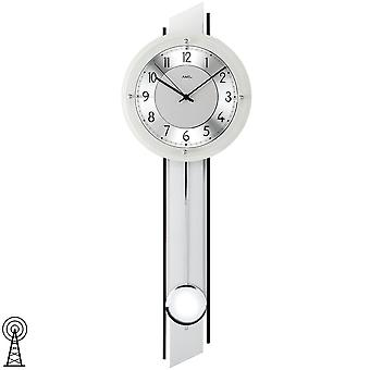 Radio pendulum wall clock wall clock with pendulum radio silver painted wood rear wall