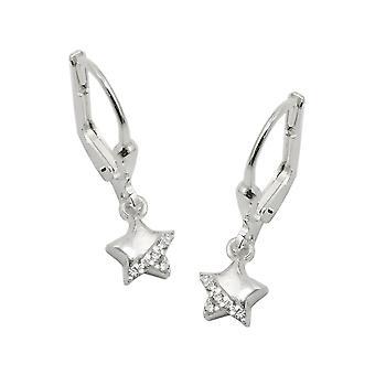 Brisur 22x6mm skinande stjärna örhängen med cubic zirconia 925 Silver