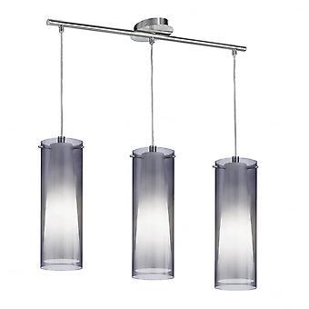 Eglo Pinto moderno ahumado vidrio Triple colgante isla gota de luz