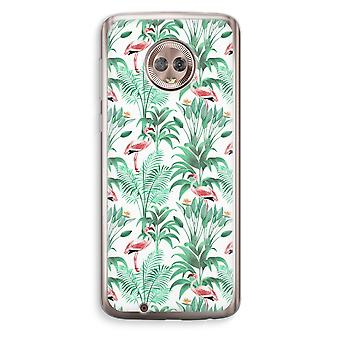 Motorola Moto G6 Transparent Case (Soft) - Flamingo leaves