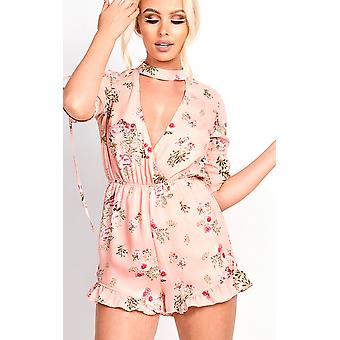 IKRUSH kvinners Cora plyndring Floral Frill Playsuit
