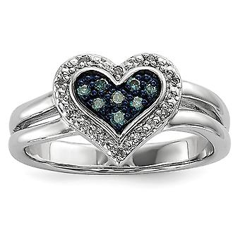 Sterling Silver Gift Boxed Cut-out sides Rhodium-plated White and Blue Diamond Heart Ring - Ring Size: 6 to 8