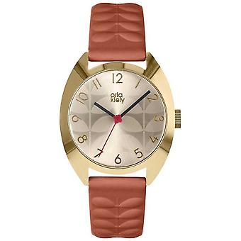 Orla Kiely | Beatriz damas | Creme Sun Ray Dial | Cinta de Tan OK2292 Watch