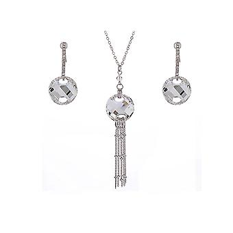 Set necklace and earrings Crystal Swarovski Elements silver