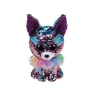 TY blätterbaren Yappy blau/lila Pailletten Hund Beanie
