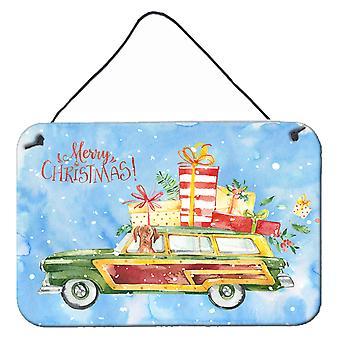 Merry Christmas Vizsla Wall or Door Hanging Prints