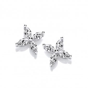 Cavendish French Silver and CZ Flower Stud Earrings