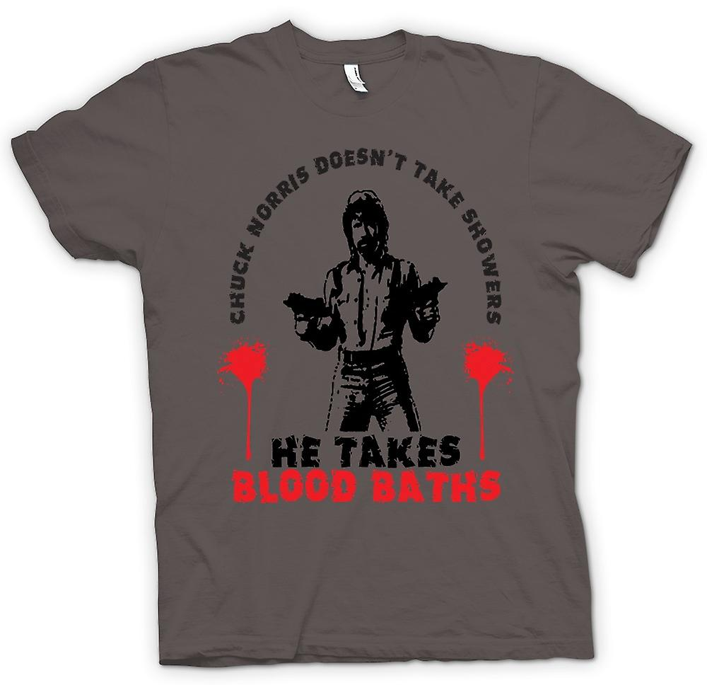 Womens T-shirt - Chuck Norris Blood Bath - Funny