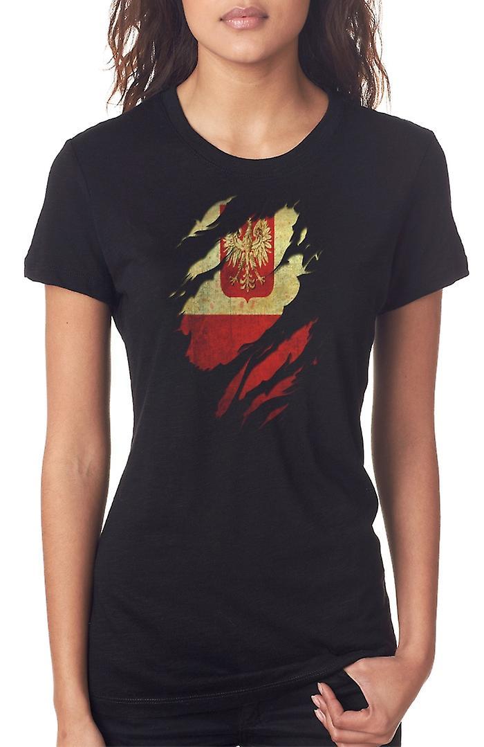 Bandera del Grunge Polaco arrancó efecto las señoras T Shirt