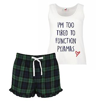 I'm Too Tired To Function Pyjamas Ladies Tartan Frill Short Pyjama Set