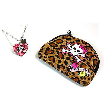 Pink Cookie Girls Silvertone & Pink Heart Skull Pendant on 18