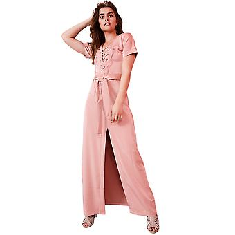 Lovemystyle Dusty Pink Maxi Dress With Lace up Front