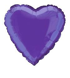 Foil Balloon Heart Solid Metallic Deep Purple