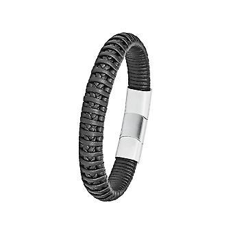 s.Oliver juvel Herre læder armbånd sort rustfrit stål 2024242