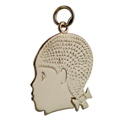 9ct Gold 22x20mm Girl's Head Pendant