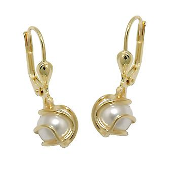 Brisur 23x7mm wrapped 8Kt GOLD earring imitation Pearl