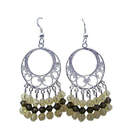 Jonquil Swarovski Crystal Sterling Silver 92.5 Chandelier Earrings