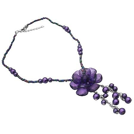 Purple Flower Amethyst Glass Stylish Inexpensive Pearls Necklace