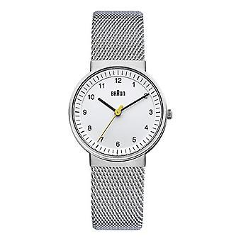 Analoge Armbanduhr Braun, Unisex Edelstahl Silber/weiss