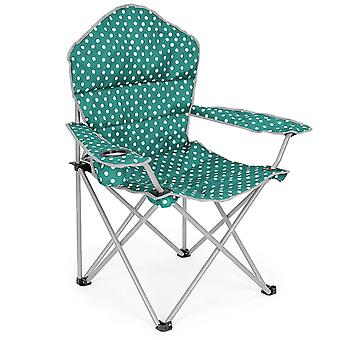 Folding Camping Chair Lightweight Padded Beach Festival Seat Polka Dot Print