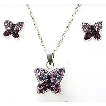 TOC Girls Sterling Silver Purple Crystal Butterfly Stud Earrings & Pendant Set