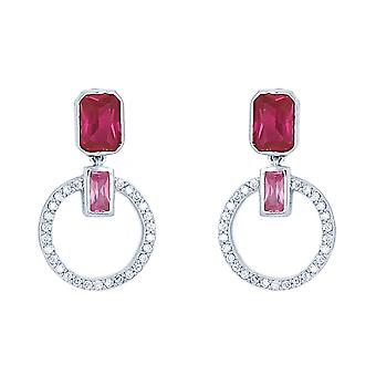 Ah! Jewellery Fuschia Drop Hoop Crystal from Swarovski Earrings