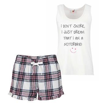 I Don't Snore I Just Dream I'm A Motorbike Pink Tartan Pyjamas