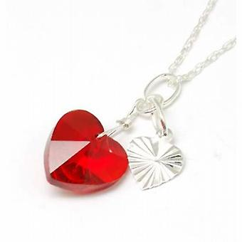 Toc Sterling Silver Red Crystal Heart and Charm Pendant on 18 Inch Chain