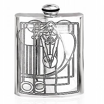 Charles Rennie Mackintosh Inspired Pewter Hip Flask 6Oz