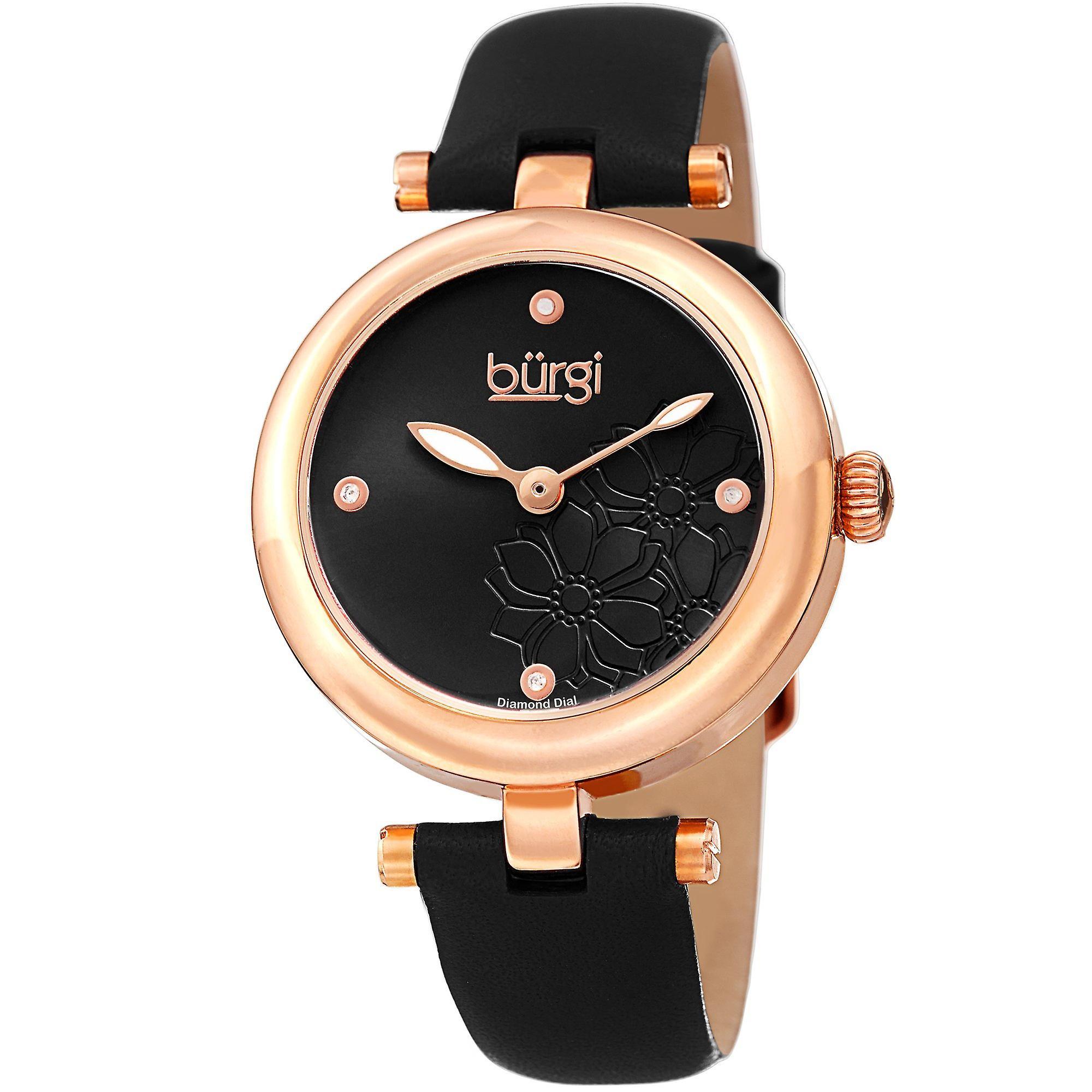Diahommet de Burgi femmes accentués cadran montre-bracelet en cuir confortable BUR197BKR